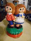 Vintage Raggedy Ann and Andy rotating musical figurine