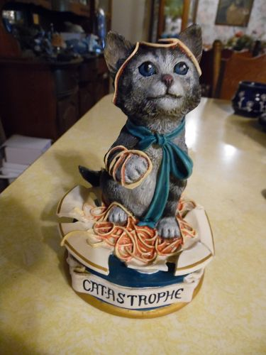 Cat-Astrophe by Jonathan Goode Quotable cats Sculpture Danbury Mint