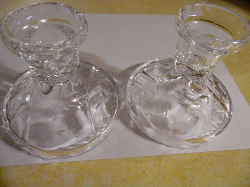 Lead crystal cut polished candle holders with rose cutting