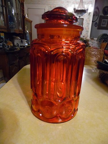 "Gorgeous Vintage LE Smith Red Amberina Glass Moon & Stars 11"" canister"