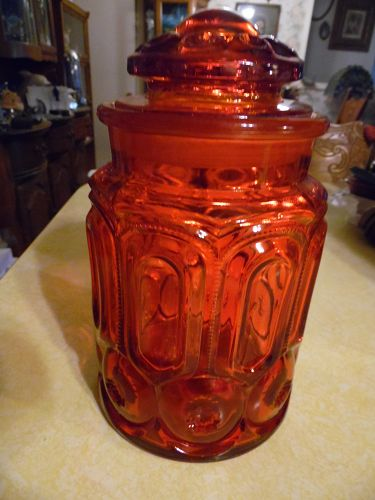 Beautiful vintage Red Amberina LE Smith Moon and Stars Sugar Canister