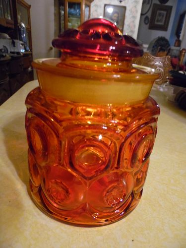 Vintage L.E. Smith Moon and Stars Canister Jar Red  Amberina 7'