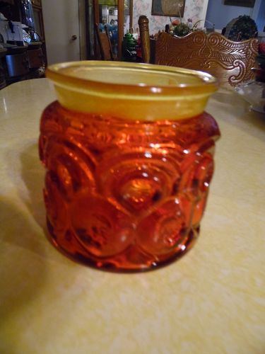 Vintage L.E. Smith Moon & Stars Red Amberina Glass Canister bottom