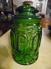 LE Smith Green Moon & Stars Sugar Canister 9 1/4""