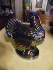 Vintage LE Smith amethyst carnival glass turkey dish