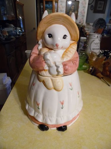 Country bunny rabbit in calico dress cookie jar