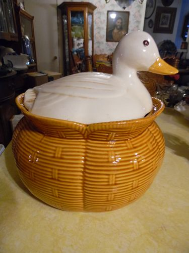 Vintage white duck on a feed sack cookie jar