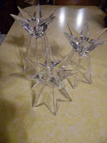 Lead crystal candle holder trio Star light reversible