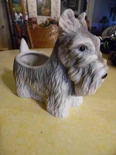 Porcelain Schnauzer scottie dog figural planter vase