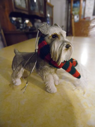 Adorable Schnauzer dog resin Christmas ornament
