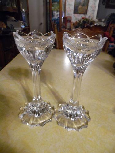 Pair of beautiful lead crystal tulip candle holders