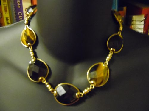 Banana Rebublic Tigers eye and smoky crystal necklace