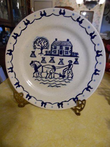 """Poppytrail blue provincial dinner plate farm scene 10"""""""