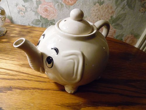 Whimsical Norcrest Grey Elephant Teapot