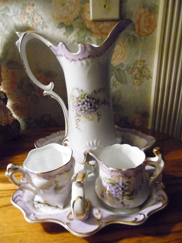 Beautiful Limoges China Violets chocolate pitcher creamer tray and cup