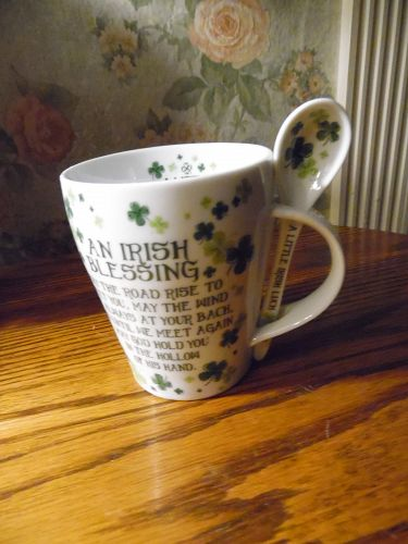 Irish Blessing porcelain mug and spoon A little Irish luck