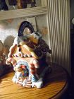 Hand Painted ceramic gingerbread house cookie jar. VERY CUTE