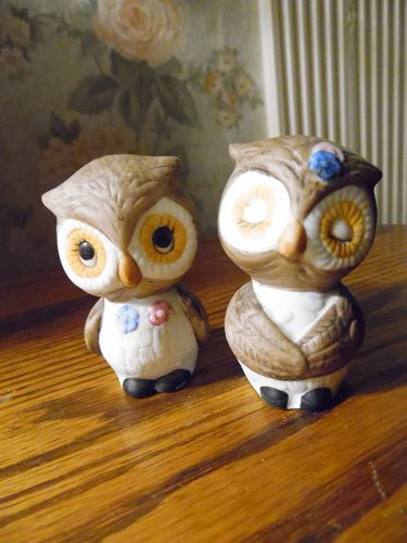 Cute lovey dovey  ceramic owl salt and pepper shakers