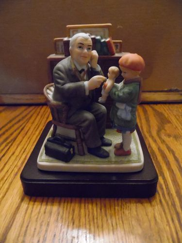 "Goebel Norman Rockwell figure Post Cover Mar 9,1929 ""Doctor and Doll"