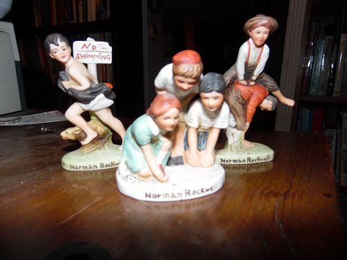 3 Norman Rockwell figurines no swimming, girl playing marbles, & leap