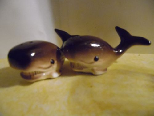 Vintage brown whale ceramic salt and pepper shakers