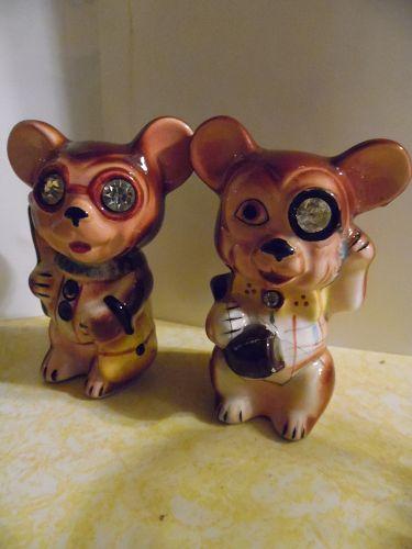 Vintage 50's Lefton mice shakers with large rhinestone eyes