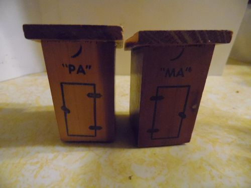 Vintage redwood or cedar Ma and Pa outhouse souvenir shakers