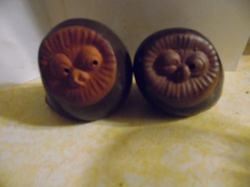 Vintage 70's red clay owls salt and pepper shakers