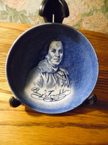 "Enoch Wedgwood Benjamin Franklin China Coaster 4 1/8"" blue and white"
