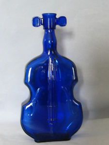 "Vintage Cobalt Blue Glass Violin Cello Fiddle 8"" Bottle"