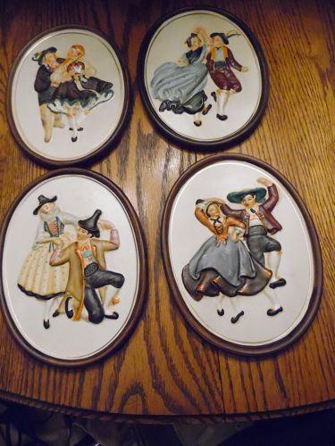 Vintage Napco set of 4 Tyrolean dancer plaques by Hermonn 1961