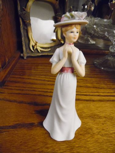 Enesco Victorian lady bisque figurine white dress clapping hands 1980