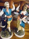 "Vintage Pair rare NIEPOLD BORGHESE large Victorian figurines 13"" chalk"