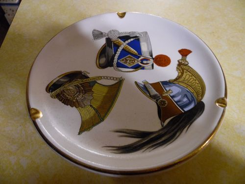 Large Swank Militaire Helmets Gold Rim Ashtray  9""