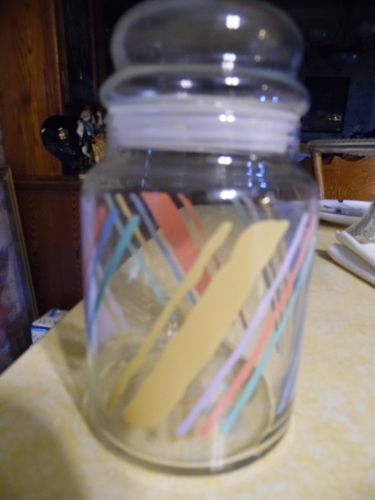 Vintage fiesta  pastel diagonal multi stripes lidded glass canister