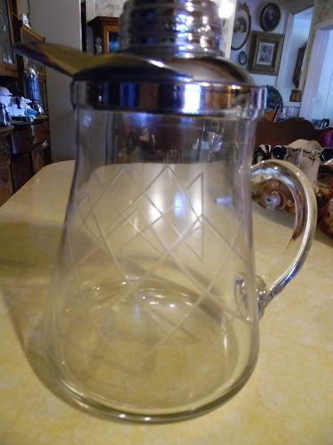 Vintage cut crystal cocktail shaker pitcher with chrome top