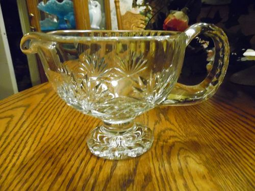 Vintage Polish 24% Lead Crystal Clear Pitcher Gravy Boat
