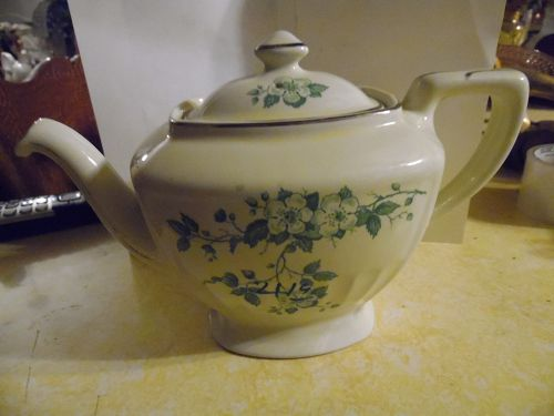 Lovely Old Hall Hollywood shape teapot rare green floral blossoms