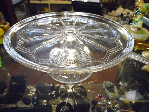 Vintage EAPG Beaded Arch Panels cake stand circa 1890