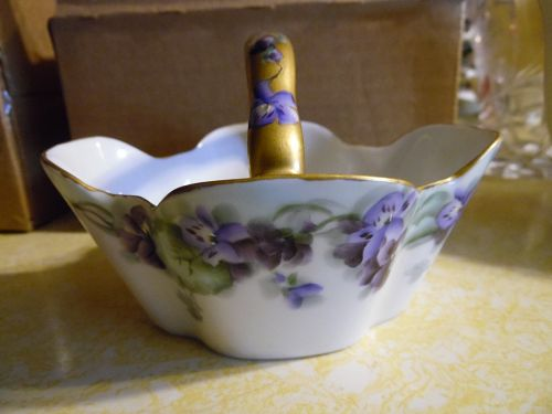 Lovely antique Bavaria porcelain basket hand painted violets
