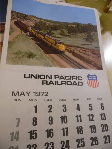 Union Pacific Railroad calendar 1972 12.5 x 23 Complete