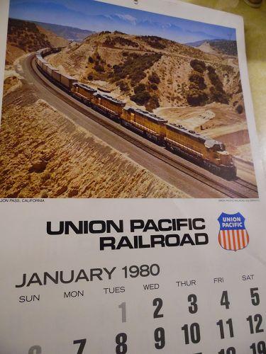 Union Pacific Railroad calendar 1980 12.5 x 23 Complete