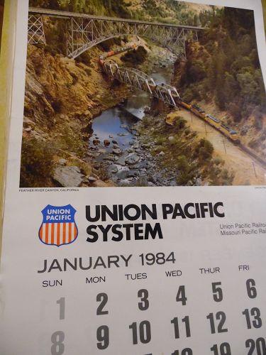 Union Pacific Railroad calendar 1984 12.5 x 23 Complete