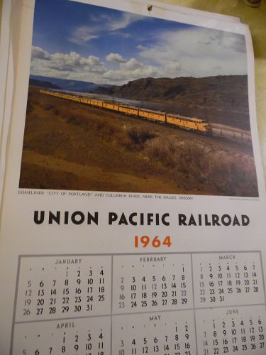 Union Pacific Railroad calendar 1964 12.5 x 23 Complete