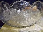 US Glass Manhattan Punch Bowl Set 24 Cups and ladle Bulls Eye Pattern