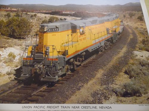 Union Pacific Freight Train near Crestline Nevada color print late 50s