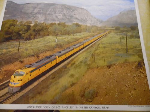 Union Pacific  Domeliner City of Los Angeles color print late 50s