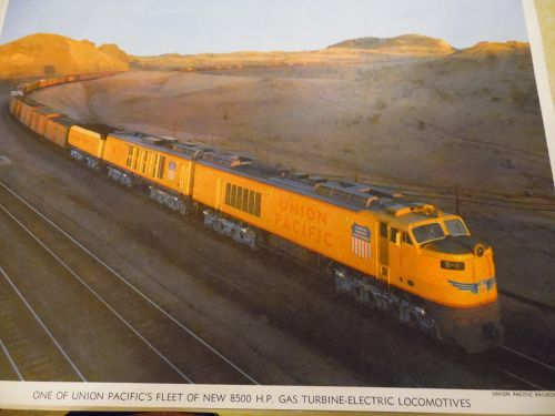 Union Pacific New 8500 HP Gas Turbine Electric  color print late 50s