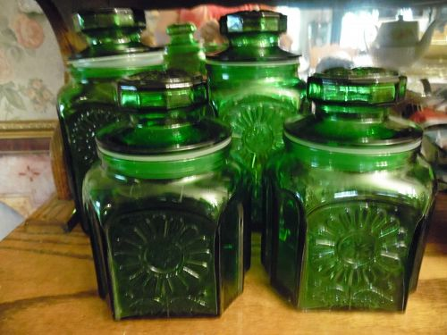 Wheaton emerald green sunflower glass canister set of 4