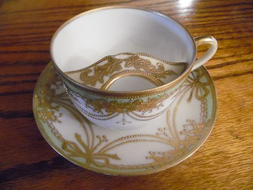 Mustache Tea Cup and Saucer Nippon Noritake Hand Painted Antique